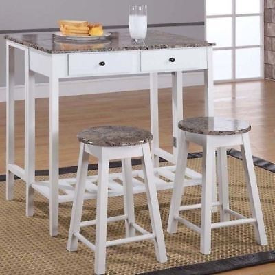 White Wooden Marble Top Kitchen Breakfast Cart Set Dining Table Stools Island (Marble Top Kitchen Island)