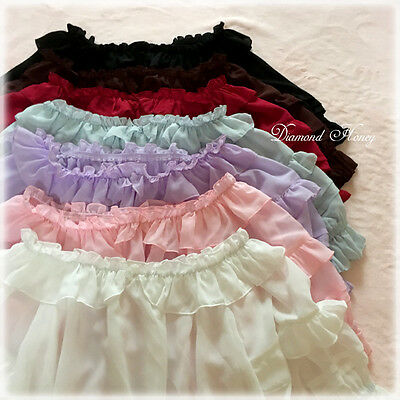 - 1pc Girls Puff Sleeve Frilly Blouse Chiffon Lace Bottoming Top Lolita Shirt 2WAY
