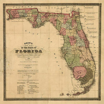 Map Of State Of FL C1874 Repro 24x24 - $9.95