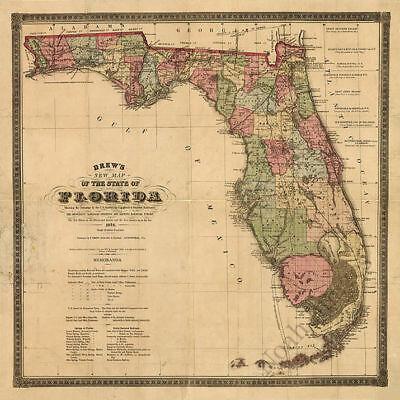 US CONFEDERATE STATES 1862 FL MAP La Belle Lady Lake Butler City Lorraine HUGE