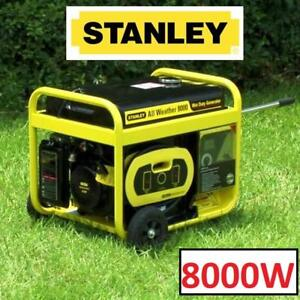 NEW STANLEY 8000W POWER GENERATOR G8000S 157564944 120V 10KW SURGE ALL WEATHER PORTABLE 12GAL GAS TANK 15HP 420CC