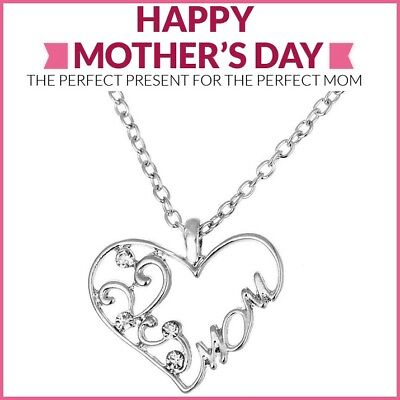 """Mothers Day Gift Mom Necklace Silver Heart Pendant w Chain Swarovski Crystal 20"""""""