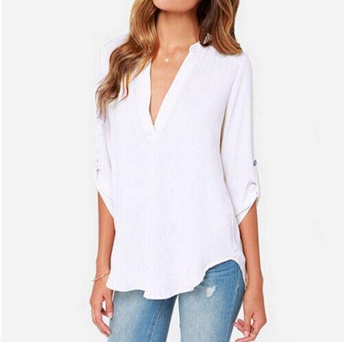 39cec01a21 Dettagli su taglie forti donna top stile Casual Chiffon larga manica lunga  camicia blusa Lot