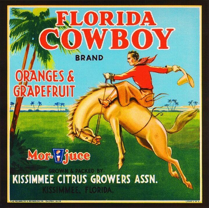 Kissimmee Florida Cowboy #1 Orange Citrus Fruit Crate Label Art Print