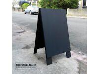 Heavy Duty Hand Crafted Black Plain Wooden Sandwich Board | A Board | Shop Sign | A-Frame