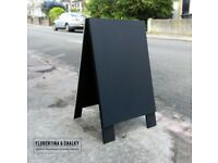 Heavy Duty Hand Crafted Black Plain Wooden Sandwich Board | A Board | Shop Sign | A-Frame