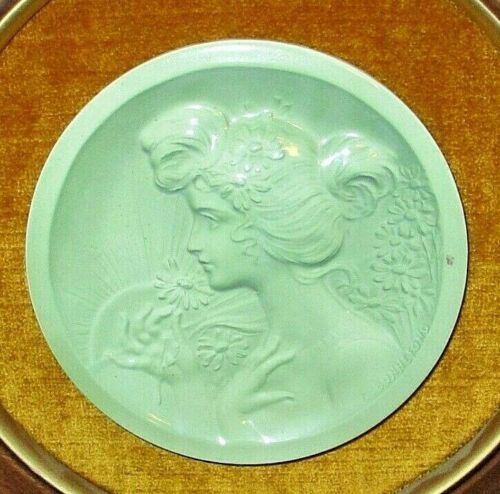 Antique Claude Bonnefond Art Nouveau Tile Rare French Porcelain Lady Plaque