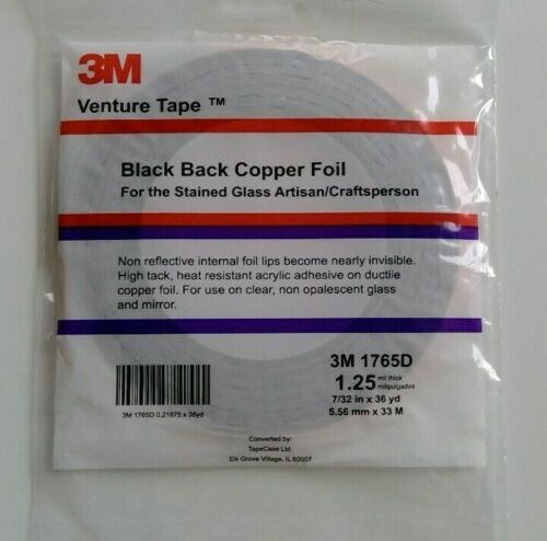 "Black Back Copper Foil  3M Venture Tape 7/32"" 36 yards 1.25mil stained glass"