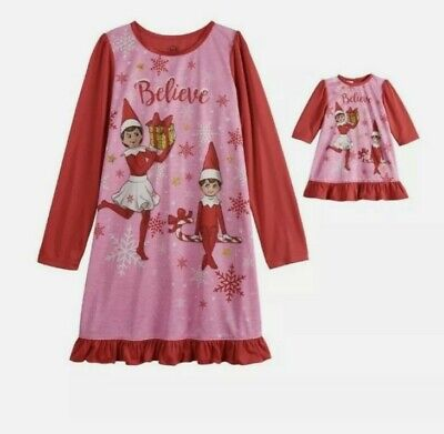 """The Elf On The Shelf Nightgown Set Size 8 Girls Doll Gown Fits 18"""" Doll"""