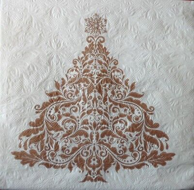 4 x Single Paper Napkins Christmas Gold Tree Decoupage Craft and Table 101