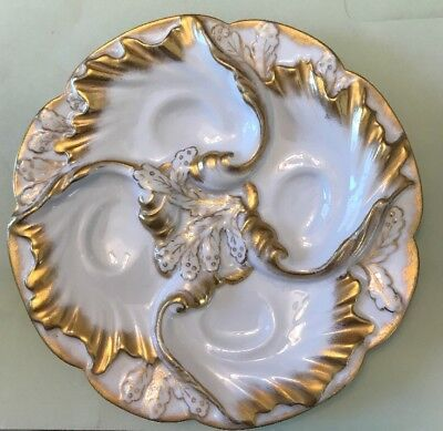 ANTIQUE VINTAGE C.F. Haviland Limoges White & Gold Lady's Oyster Plate c1891 White Oyster Plate