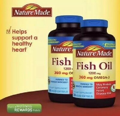 Lot Of 2 ~ Nature Made Fish Oil 1200 mg EPA DHA & 360mg OMEGA-3 400 Softgels