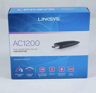 Linksys WUSB6300 Dual-Band AC1200 Wireless USB 3.0 Adapter - Black - (Linksys Ac1200 Dual Band Wireless Usb Adapter)