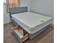 Brand New Double Divan Bed Base with Headboard !! Drawers & Mattress (Optional)