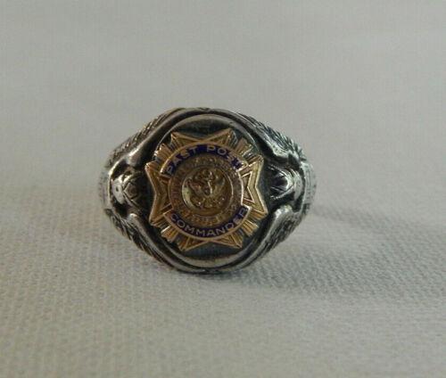 Vintage Sterling Silver U.S. Veterans of Foreign Wars Past Post Commander Ring