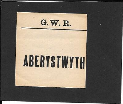 ABERYSTWYTH - RAILWAY LUGGAGE LABEL (SQUARE) - GREAT WESTERN RAILWAY