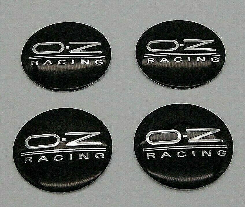 4 x 56mm OZ Racing Silber Schwarz Chrome Satz Nabenkappen Felgendeckel