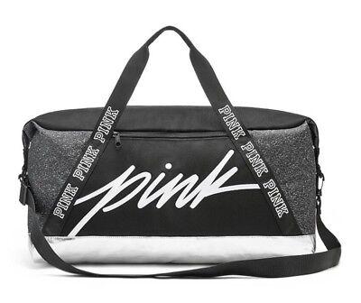 VICTORIA'S SECRET PINK SPORT DUFFLE GYM BAG - Black White Silver - NEW!