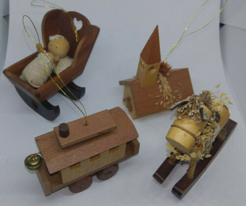 4 Vintage wooden Christmas ornaments by Gibson from the 1970s horse church train
