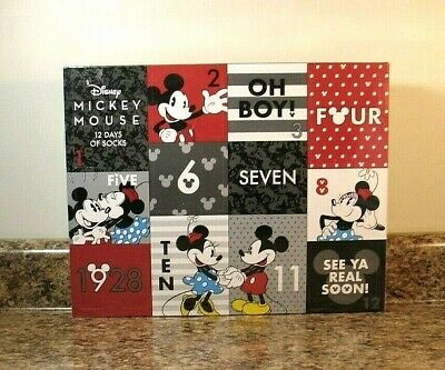 Disney Mickey Mouse Ladies 12 Days Of Socks Christmas Advent Calendar Sealed NEW