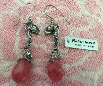 ❤️MICHAEL GUMUSH STERLING SILVER CHERRY QUARTZ 3-D LILY FLOWER EARRINGS ISRAEL Cherry Quartz Flower Earrings