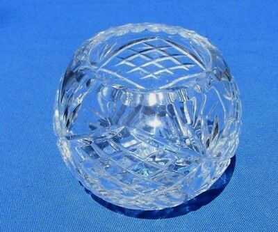 Vintage Clear Lead Crystal Rose Bowl Diamond and Fan Pattern ()