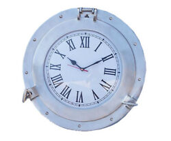 Ships Cabin Porthole Clock Brushed Nickel Finish 15 Aluminum Hanging Wall Decor