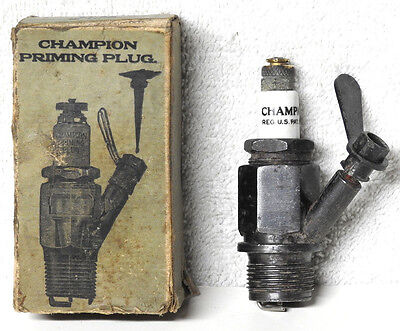 "Vintage N.O.S. Champion 7/8"" Needle Primer/Priming Spark Plug & Wrench in Box"