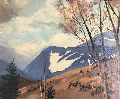 Oil On Board Framed Snow Covered Mountains Catherine Macphail Canadian Artist