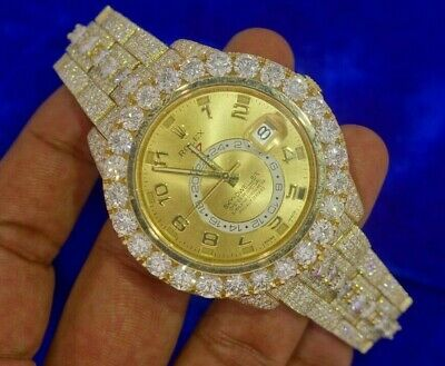 Rolex Sky Dweller Gold Watch 326938 Fully Iced 3300 Diamonds Honeycomb Setting