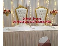 Throne Chairs/Love Lounge/Chair Covers/Sashes/Table Covers/Runners/Centre Pieces/LED Lights Hire!