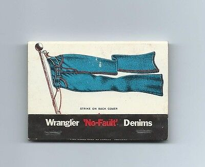 Matchbook Cover, Wrangler 'No-Fault' Denims, Unused.