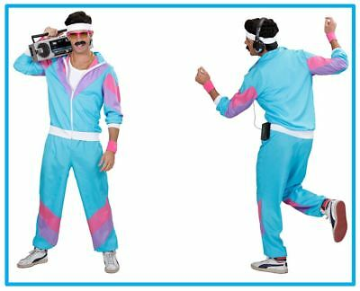 80er Jahre Trainingsanzug Kostüm Jogginganzug Mottoparty Karneval Türkis , (K)