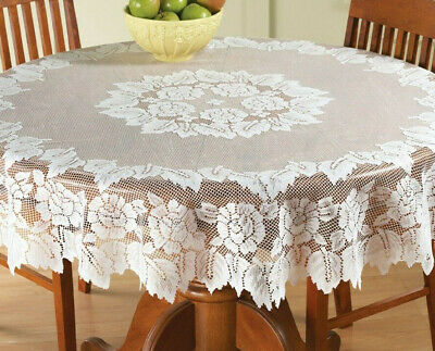 "Lace Tablecloth 60"" Round White IN HAND Floral Rose Cover Elegant Dining Table"