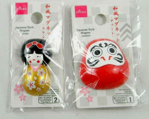 Japanese Style Magnet set Kokeshi doll and Daruma doll magnets new from Japan
