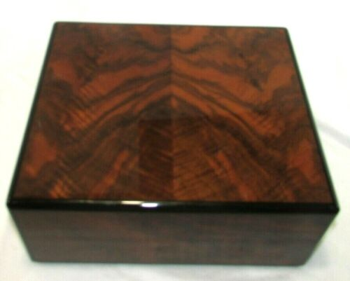 ELIE BLEU HUMIDOR Made In FRANCE Lacquered BURL WOOD CIGAR BOX
