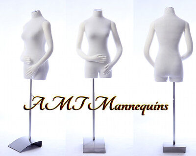 Female Mannequin Torso W Pinnable Body Arms Hands White Body Dress Form-rb