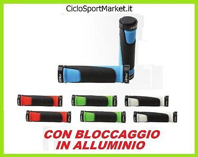 2 Manopole in Gomma alluminio Per Manubrio Bicicletta Bici Manopola MTB