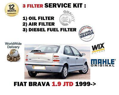 POUR FIAT BRAVA 1.9JTD 12/1999-> KIT ENTRETIEN FILTRE À CARBURANT AIR HUILE