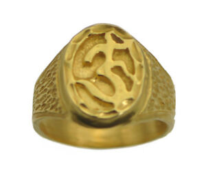 24K Gold Plated Hindu Om Ring Size 10.5 New