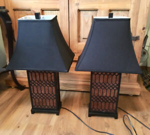 PAIR OF UNIQUE LAMPS WITH BLACK SHADES