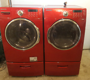 Red samsung washer and steam dryer (electric)