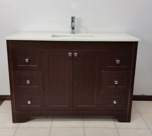 Dark Cocoa shaker style comtemporary vanity set with top 4-ft