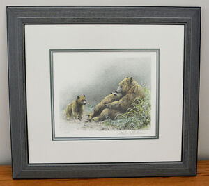 """Robert Bateman Signed Limited Print """"Grizzly Mother and Cubs"""""""