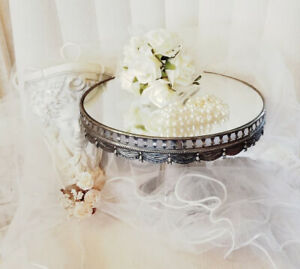 Vintage Silver Plated Mirror Top Pedestal Cake Stand