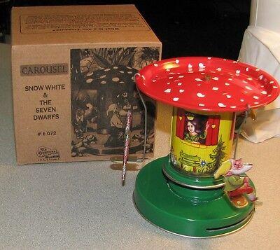 Snow White Seven Dwarfs Carousel Wind Up Tin Toy Brand New