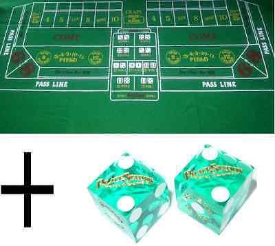 Green Craps Casino Cloth Baize Felt- Layout + CHOICE OF CASINO CRAPS - Craps Cloth