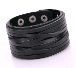 Black Gothic Leather Rawhide Snap/Adjustable Wristband