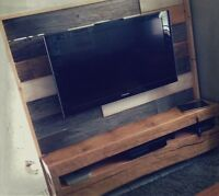 Reclaimed Barn Wood Entertainment stand Beam shelves