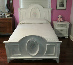 Solid Wood White Bed Frame with Bedside Table